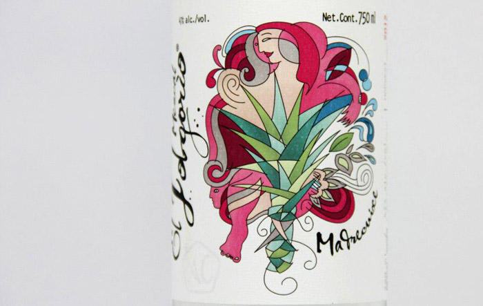 Label of a mezcal bottle