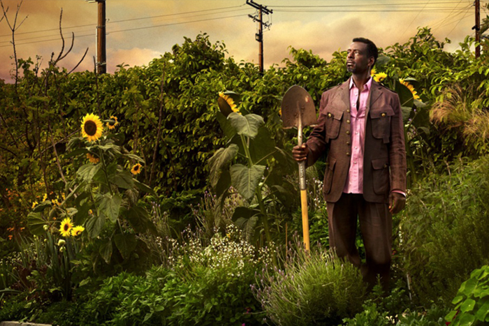 Portrait of Ron Finley in a garden