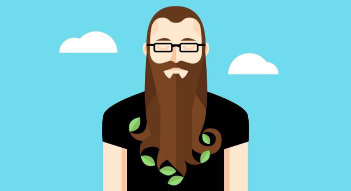 Illustration of bearded man with leaves in his beard