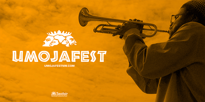 Owuor Arunga playing the trumpet with Omojafest logo