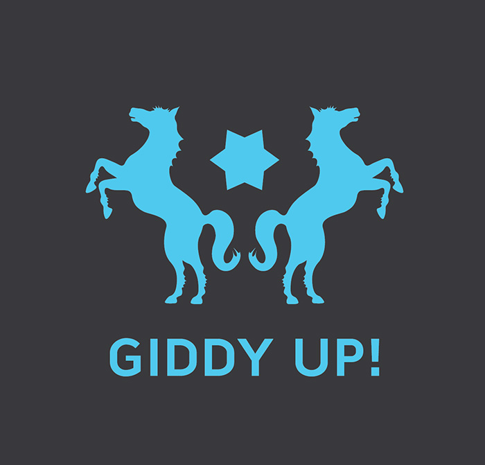 Logo with two horses and a star