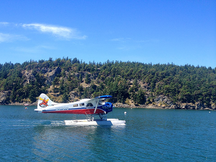 Float plane arriving in Deer Harbor