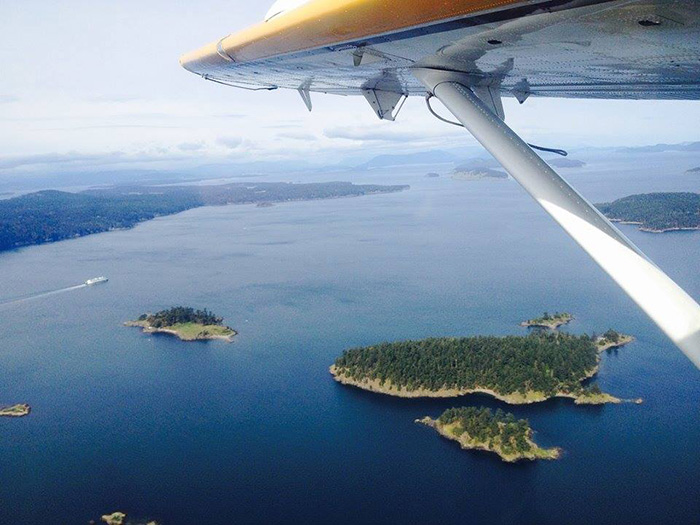 San Juan Islands from airplane