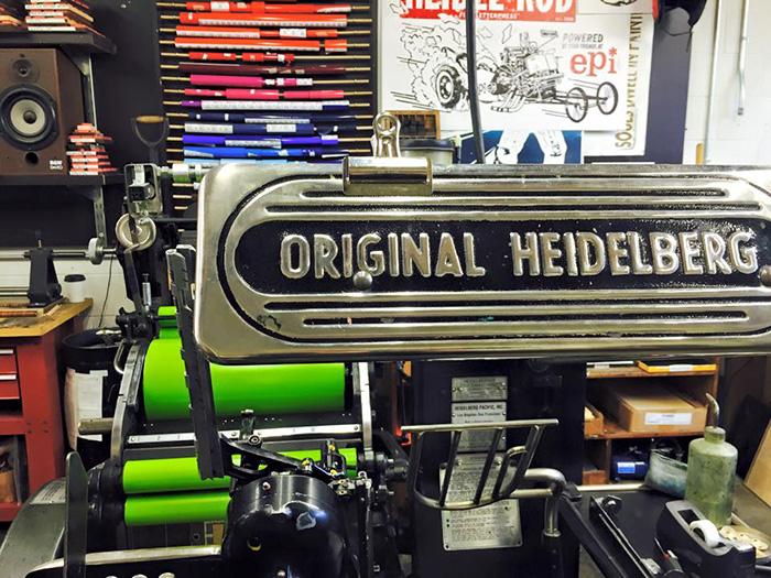 Close up of Heidelberg letterpress