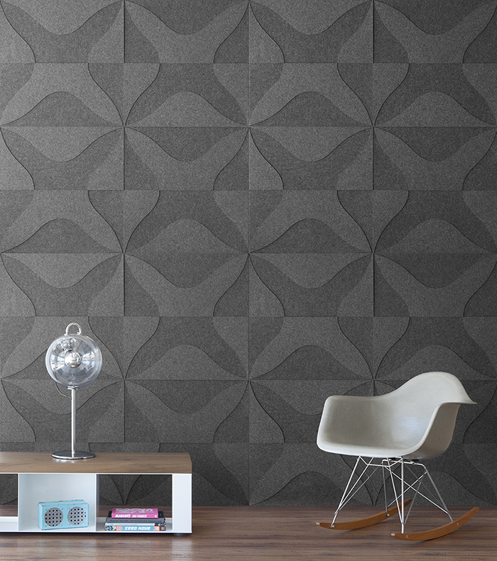 Felt wall covering with modern furniture