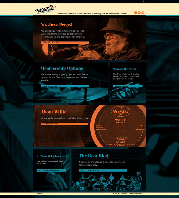 Homepage of Jazz Everyone website