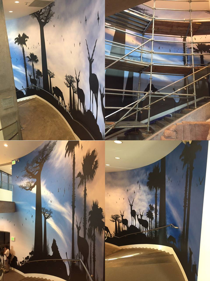Collage of progress of wall mural